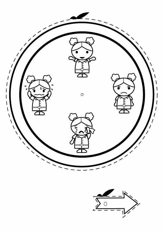 Coloring Page Emotion Clock Girl Free Printable