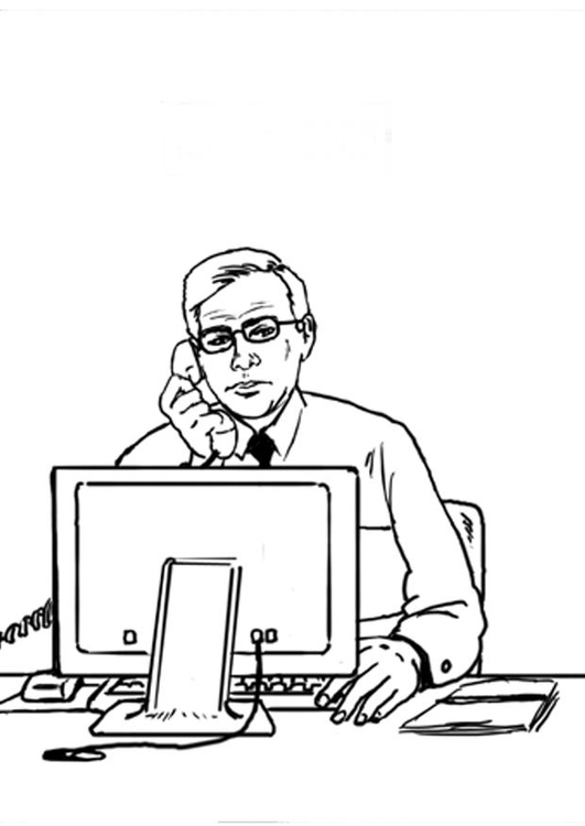 Coloring page employee