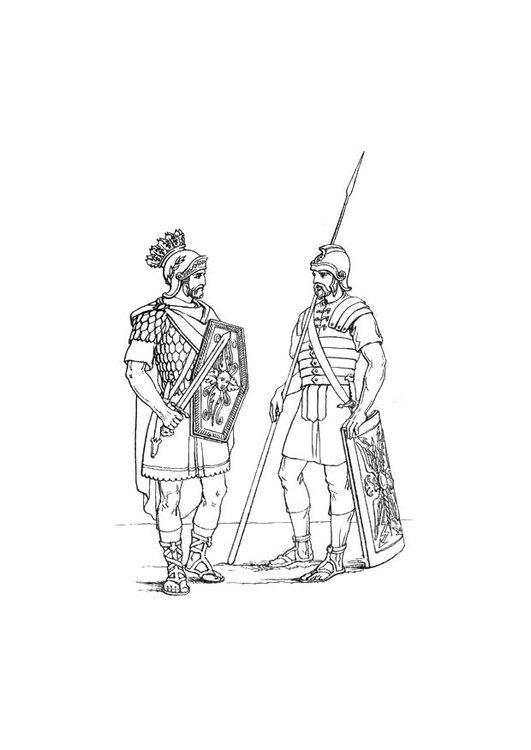 Coloring page English soldier in the Roman Army