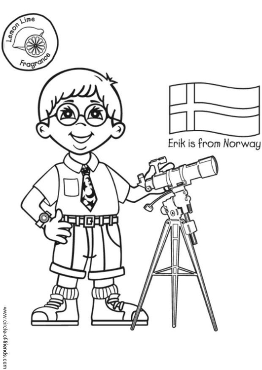 Coloring page Erik from Norway