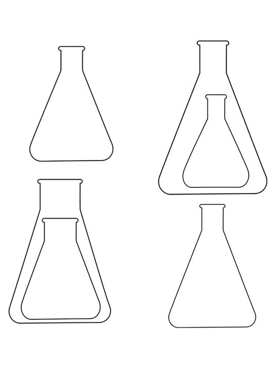 Coloring page Erlenmeyer flasks