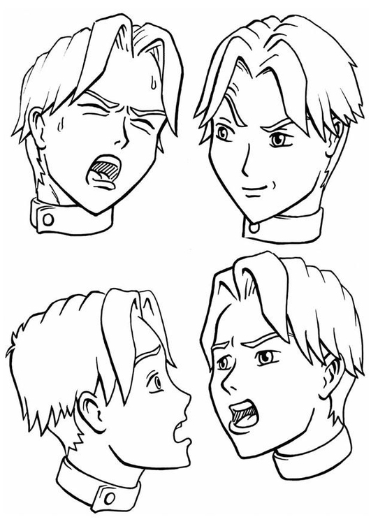 Coloring page expressions emotions