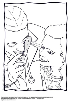 Coloring page eye examination