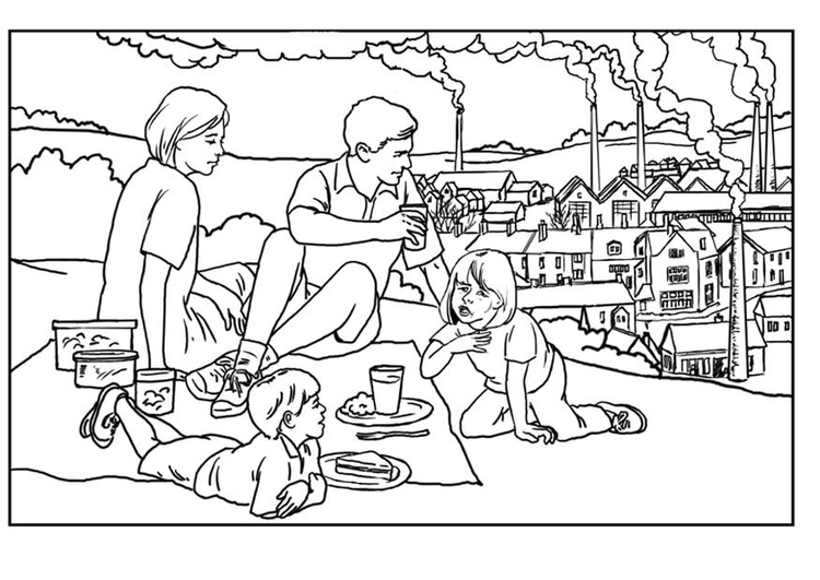 Coloring page factories - pollution
