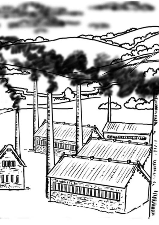 Coloring page factory - pollution