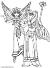 Coloring page fairies in costume