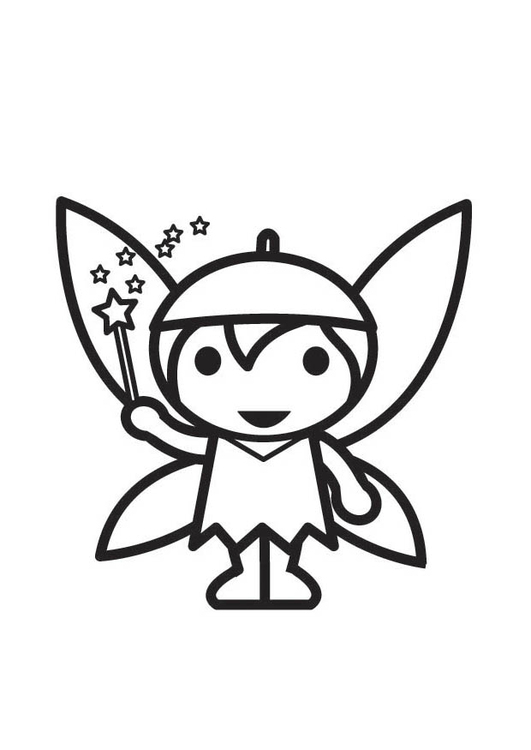 Coloring page Fairy - Elf
