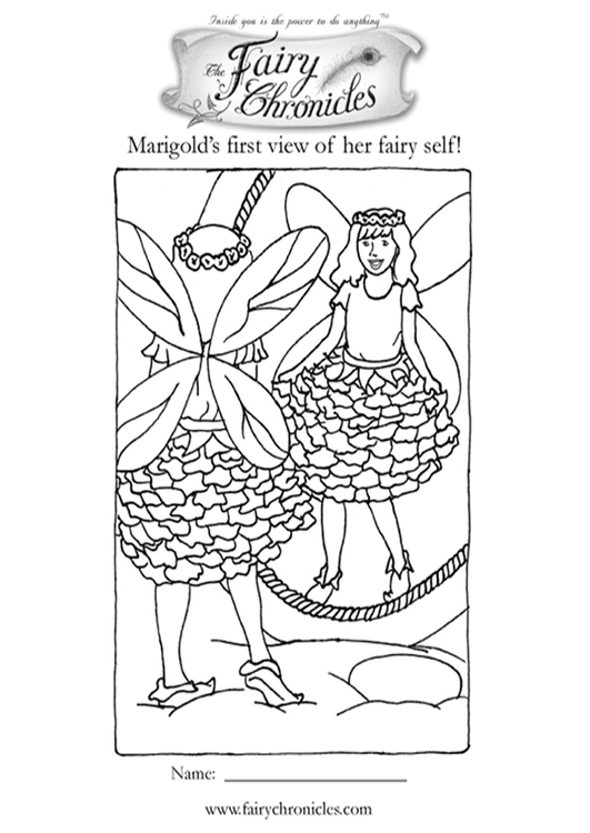 Coloring page fairy in front of mirror