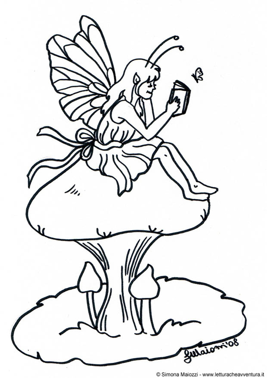 Coloring page fairy on mushroom