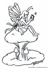 Coloring pages fairy on mushroom