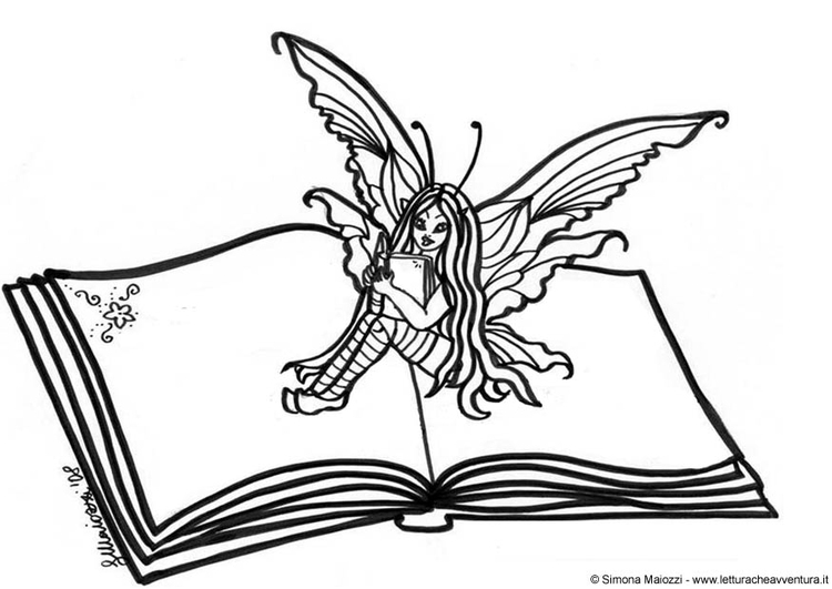 Coloring page fairy on the book