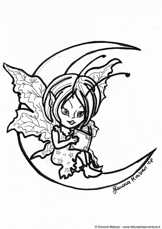 Coloring page fairy on the moon