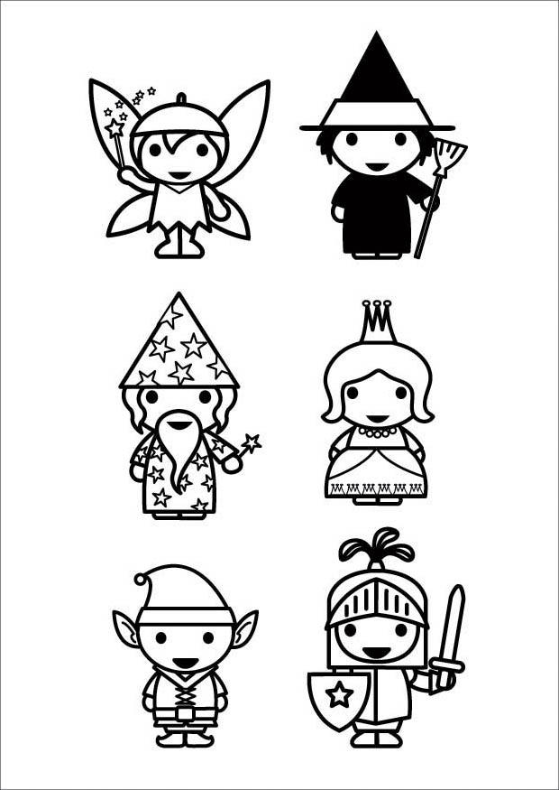 Coloring Page Fairy Tale Characters Free Printable