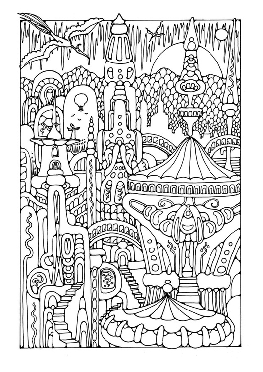 Coloring page fairy tale city