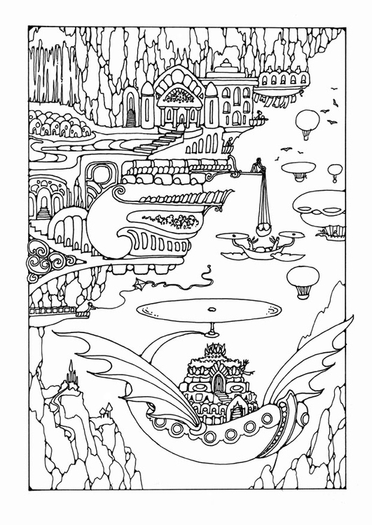 Coloring page fairy tale city with vehicles