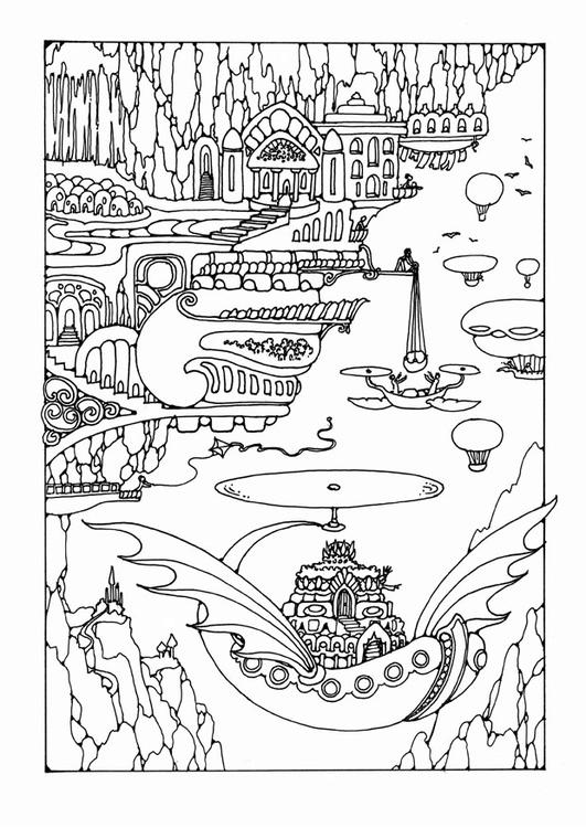 fairy tale city with vehicles