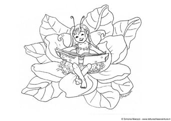 Coloring page fairy with book