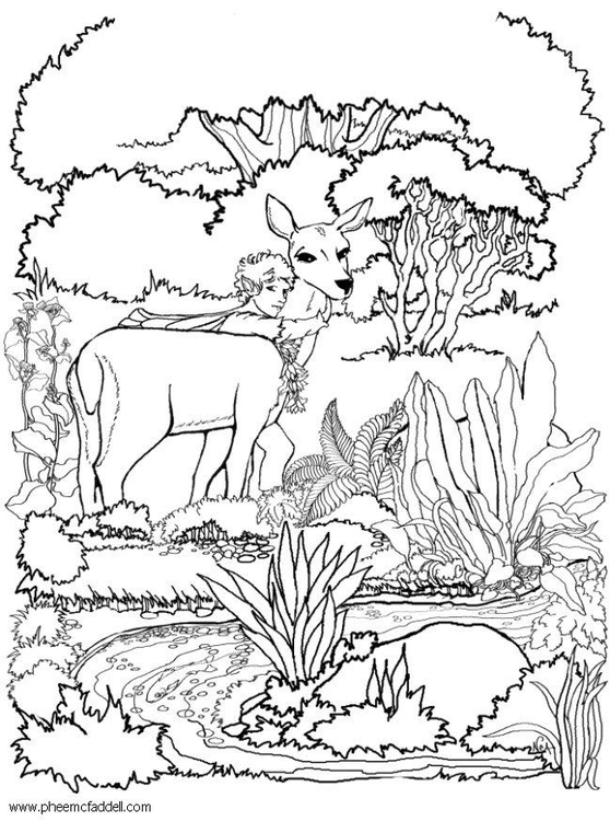 Coloring page fairy with deer