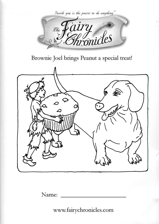 Coloring page fairy with dog
