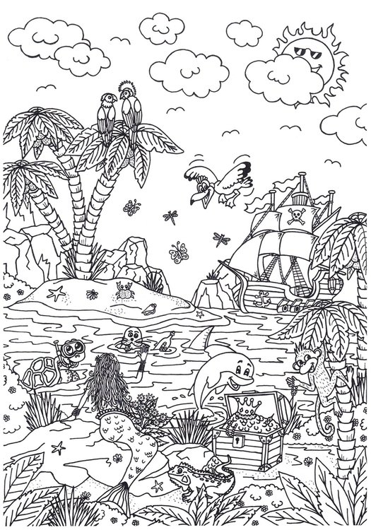 Coloring page fairytale island
