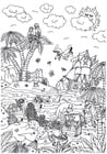 Coloring pages fairytale island