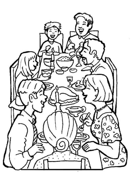 Coloring page family celebration