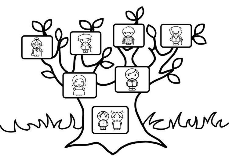 Coloring Page Family Tree