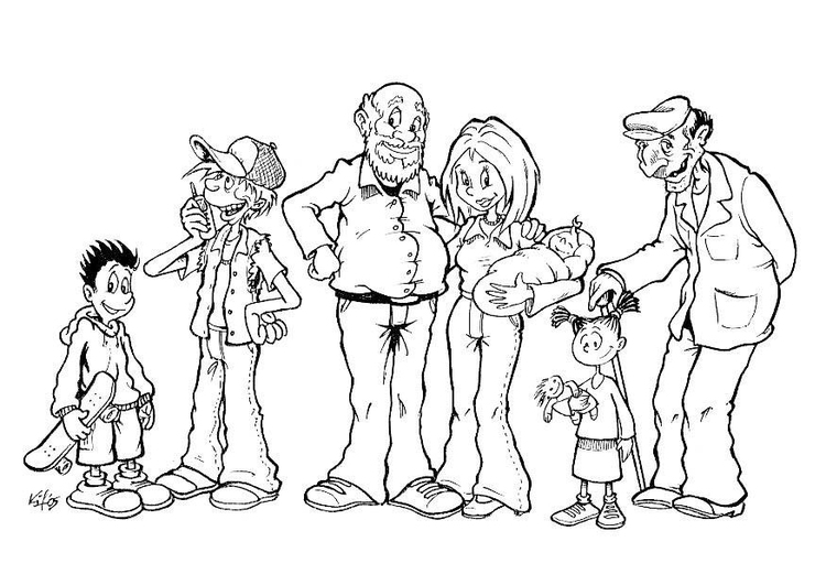Coloring page family, various ages