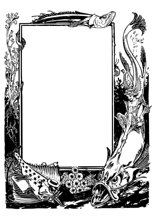 Coloring page fantasy ocean animals frame