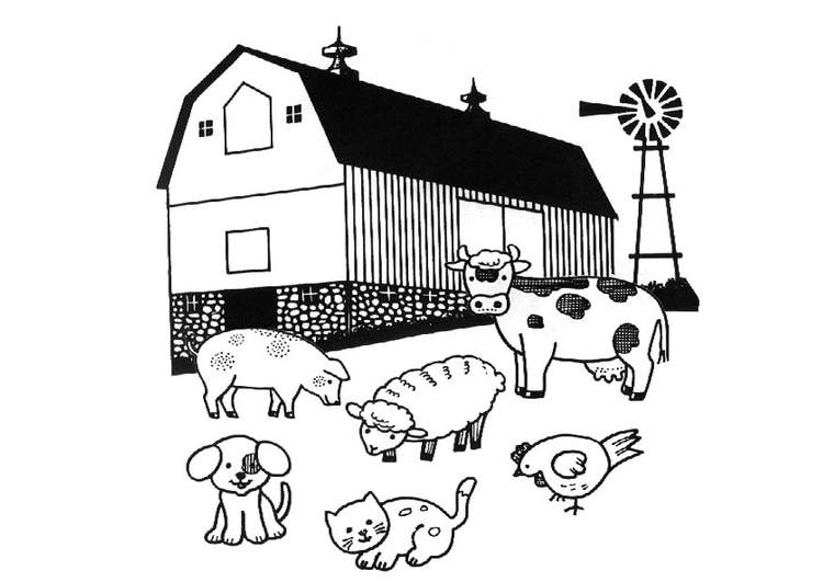 Coloring page farm