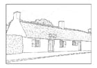 Coloring page farmhouse 18th century
