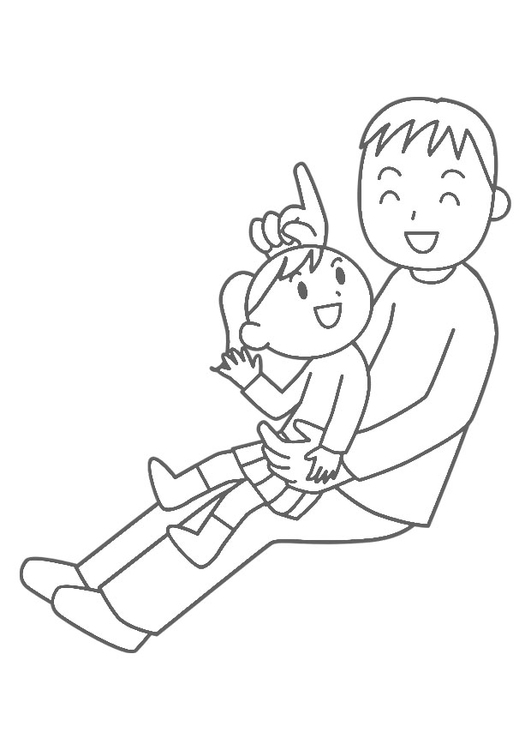 Coloring page father and child