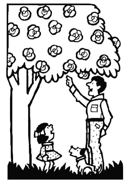 Coloring page father and daughter