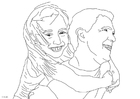 Coloring pages father and daughter