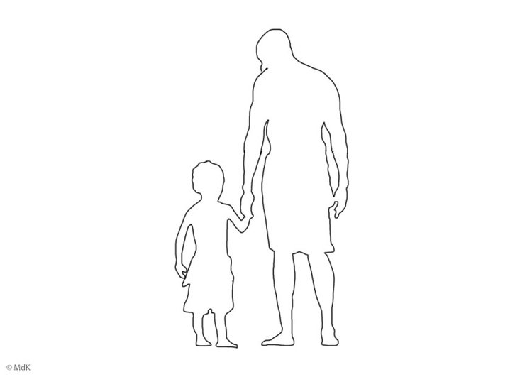 Coloring page father and son