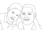 Coloring pages father and son