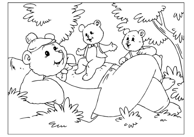 Coloring page Father's Day - bears