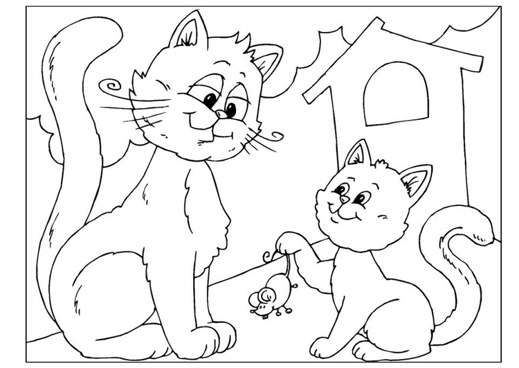 Coloring page Father's Day - cats