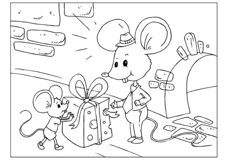 Coloring page Father's Day - mice