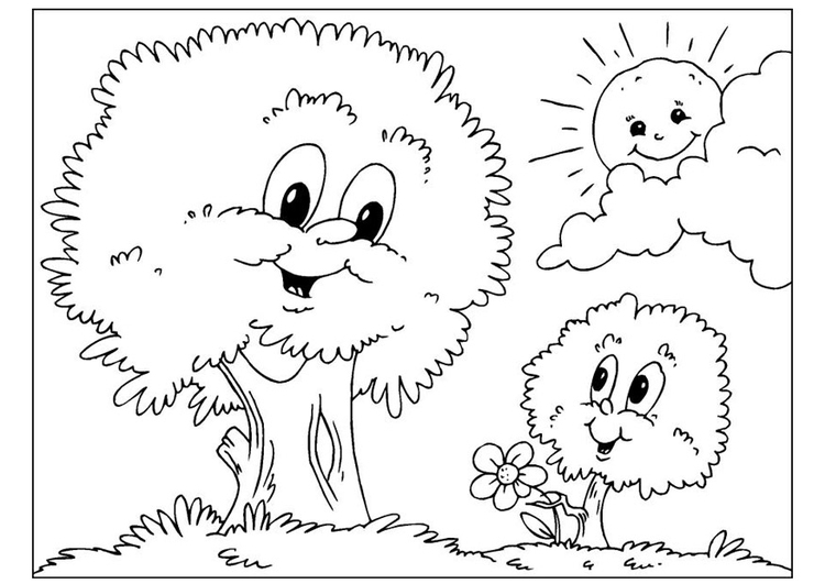 Coloring page Father's Day - trees