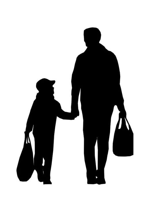 Coloring page father with childf