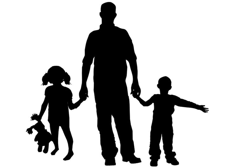 Coloring page father with children
