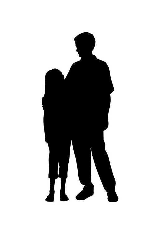 Coloring page father with daughter