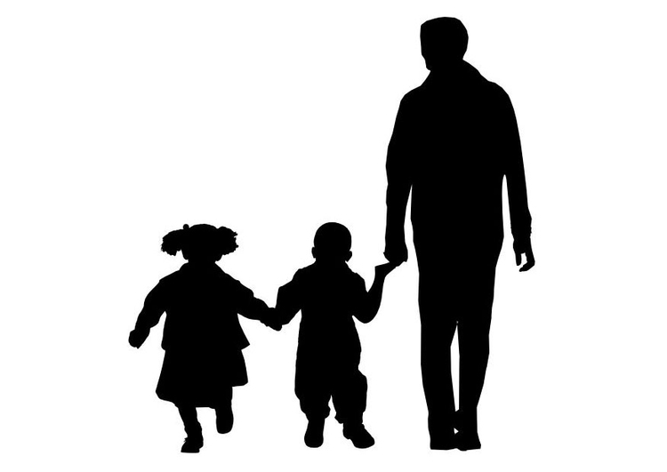Coloring page father with son and daughter