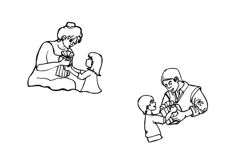 Coloring page Father's Day and Mother's Day