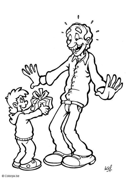 Coloring page Fathers' Day gift