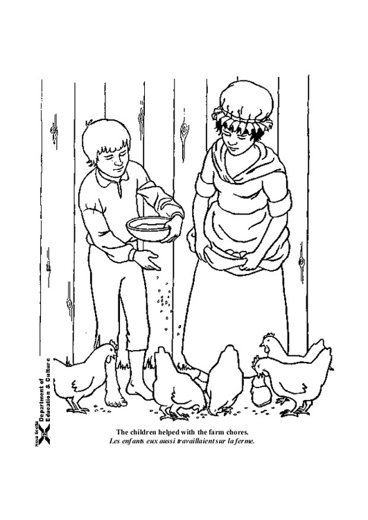 Coloring page feeding the animals