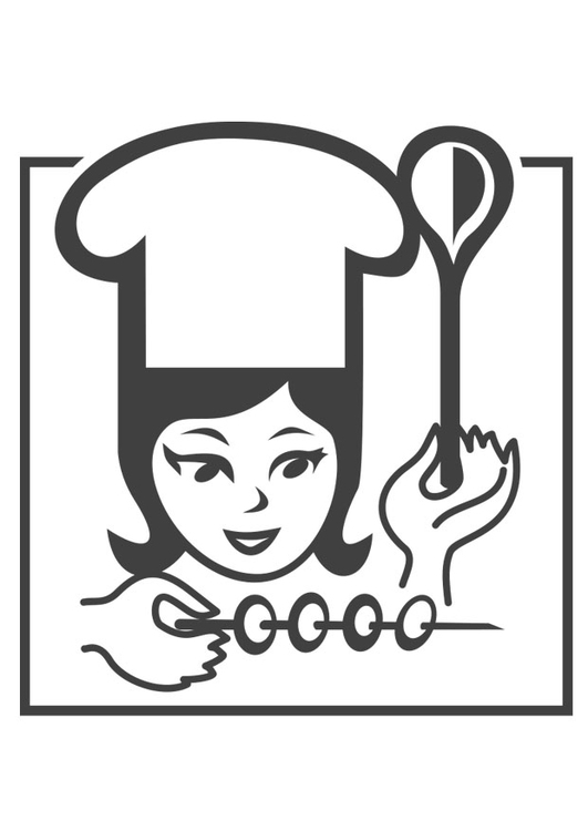 Coloring page female chef