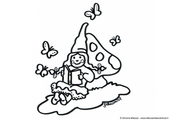 Coloring page female dwarf