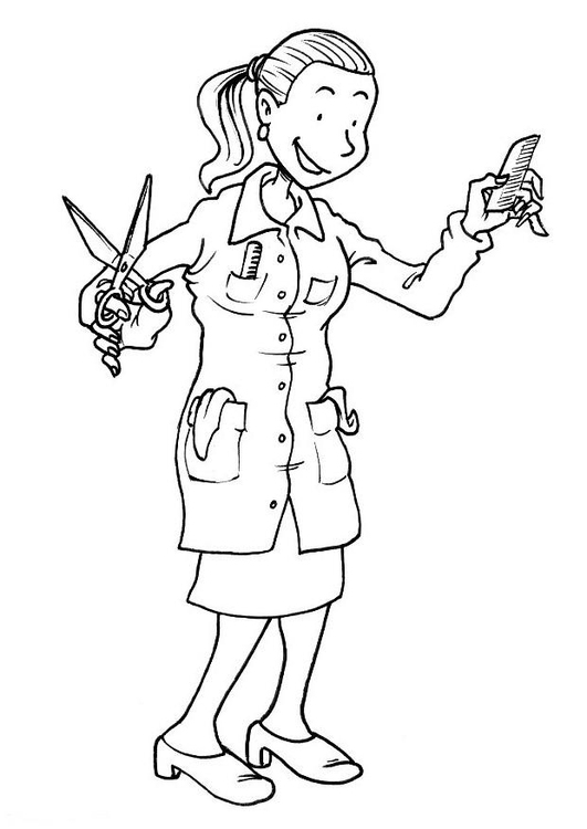 Coloring page female hairdresser